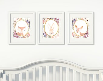 Girl's Nursery Printable Set, Watercolor, woodland, animals, flowers, rose gold, handrawn, set of 3 8x10s #671