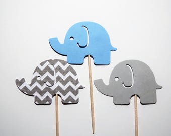 24 Light Blue and Gray Elephant Standard Cupcake Toppers,Baby Shower,1st Birthday,Gender Reveal,Baby Boy