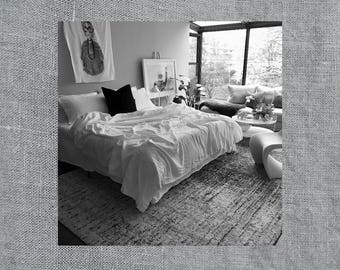 Swedish Grey Linen Coverlet - Cozy Bedding - Made to Order in the USA