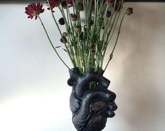 Anatomical Heart Vase, Black Finish