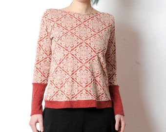 Red patterned sweater, Red and beige jersey sweater, Womens clothing, MALAM