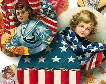 Fourth of July Digital Collage Sheet 1 inch Circles -- piddix no. 590