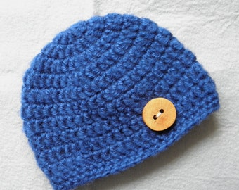 Baby hat beanie crochet navy royal blue teal with handmade wooden button newborn boy photography photo prop simple basic primitive