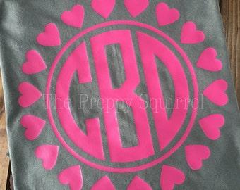 Valentine's Day Monogram Shirt   Large Monogram   Valentine Monogram