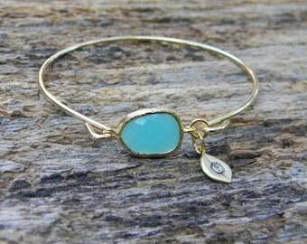 Personalized Gold Bangle Bracelet / Aqua Blue Bracelet / Bridesmaid Gift / Bridesmaid Jewelry / Bridesmaid Bracelet / Initial Bangle / Gift