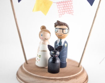 Cake Topper with Pet - rustic wedding cake topper - peg people cat cake topper - wooden topper with cat - wedding cake topper with cat