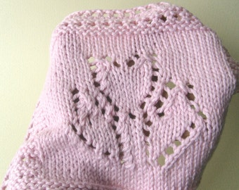 Luxury Knit Wash Cloth/Hand Towel - Pretty Tulip Design In Pink