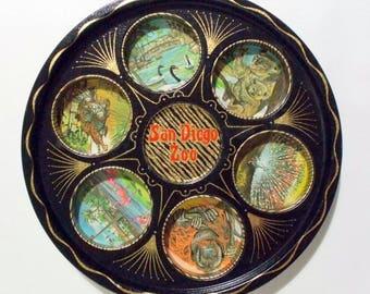 """Vintage 11"""" Black Gold Metal San Diego Zoo 6 Recessed Drink Holder Tray"""