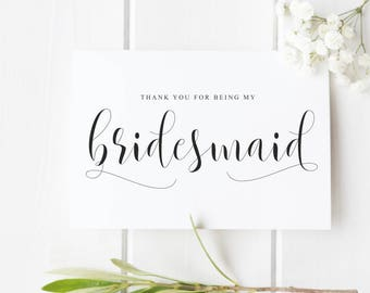 Bridesmaid Thank You Card, Thank You For Being My Bridesmaid, Wedding Thank You Card, Bride Tribe Thank You Card