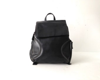 90s patchwork black faux leather mini RUCKSACK backpack