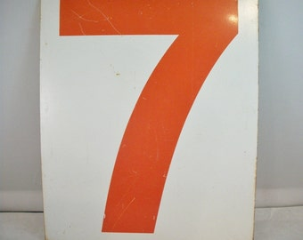 Gas Station Number Seven   Vintage Metal Sign NUMBER TYPOGRAPHY Double Sided Gas Sign