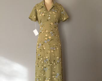 floral neo regency dress / light chartreuse maxi dress / whimsical wildflowers dress / tie bow back empire waist dress / S / M