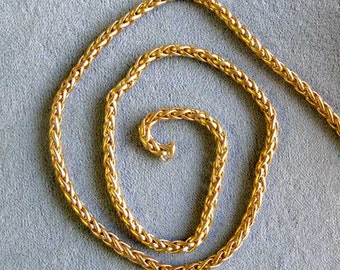 "One Foot Wheat Chain, Satin Hamilton Gold Plated Brass Chain 1/8"" Diameter"
