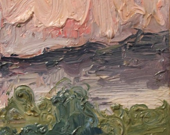 windy evening  original oil painting 5x7