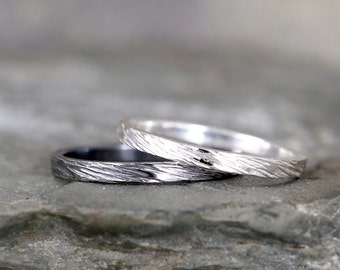 2mm Hammered Bark Texture Wedding Band – Sterling Silver – Commitment Rings – Wedding Bands – Unisex Design – Rustic – Tree Branch Finish