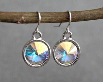 Opal Earrings, Opal Crystal Earrings, Opal Drop Earrings, Opal Dangle Earring, Opal Bridesmaid Earrings, Iridescent Earrings