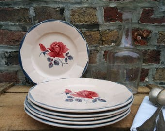Set of 6 (or 12) plates flat Digoin & Sarreguemines, floral pattern made in France, 1940 Vintage Roses XX antique French dishes