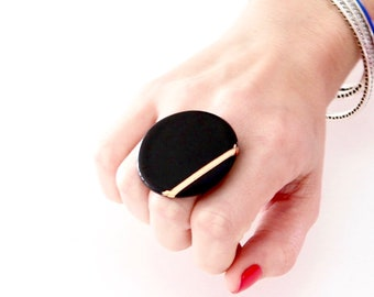 Black Ring, Gold Ring, Ceramic Ring  - ceramic jewelry, big ring, large ring, gift for her, adjustable ring, cocktail ring, handmade ring