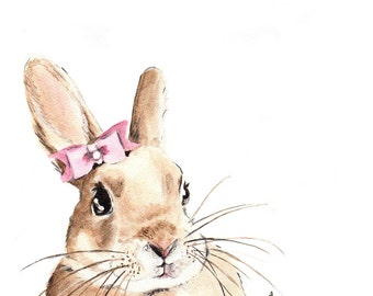 Bunny with a Pink Hair Bow. Illustration. Watercolor painting. Square art print.