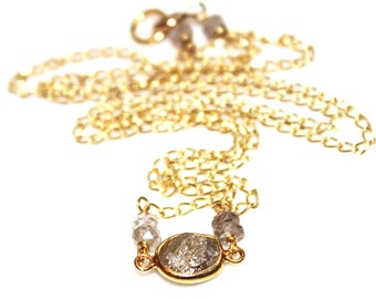 Diamond Nugget Necklace Diamond Necklace Delicate Jewelry Real Diamond Jewelry Authentic Diamond  Gold Vermeil Bridal Necklace Wedding