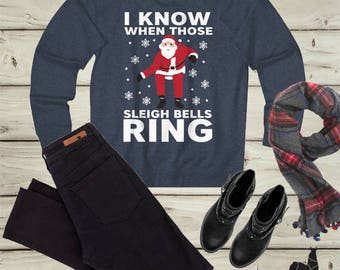 Drake, Christmas Sweater, I Know When Those Sleigh Bells Ring, Ugly Sweater, Family Sweatshirts, Christmas Party Outfit, Funny Gifts, Santa