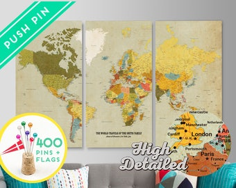 Personalized travel map unique push pin map personalized world personalized world map canvas push pin map set 3 canvas ready to hang gumiabroncs Images