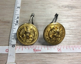 Vintage Pair Of Gold Toned Eagle Buttons Fasteners Used