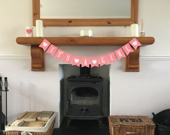 Handmade It's A Girl Bunting * Can Be Personalised With A Name * Baby Shower Bunting