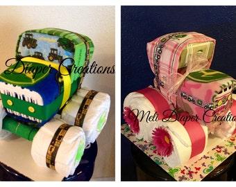 Tractor Diaper Cake, girl tractor cake, boy tractor
