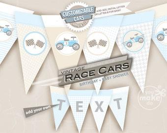 race car party vintage race car birthday light blue baby