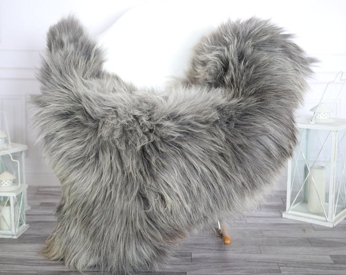 Sheepskin Rug | Real Sheepskin Rug | Shaggy Rug | Chair Cover | Sheepskin Throw | Gray Sheepskin | Home Decor | #HERMAJ71