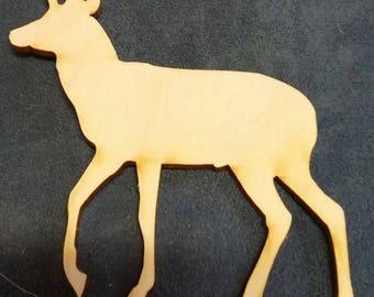 Stag deer wood cutout painting