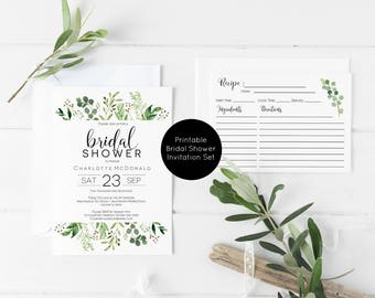 Greenery Bridal Shower Invitation Template, Details Card, Recipe Card, Bridal Shower Invitation Printable, Instand Download, WLP589
