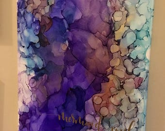 """Original Alcohol Ink on Stretched Canvas - 16x20"""" - Mermaid Soul"""