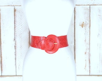 Vintage wide red woven leather belt/braided leather statement boho belt
