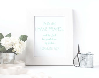 1 Samuel 1:27 Bible verse digital teal art print | Quote digital art print