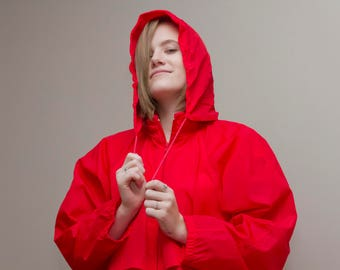 Eddie Bauer Wind Breaker, Red Jacket, Hiking apparel, Nylon Jacket, Retro Eddie Bauer, Women's Wind breaker