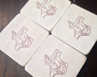 Rustic Texas Wood Coasters Set of Four in Ivory