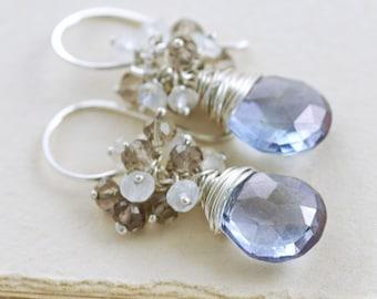 Blue Stone Moonstone Cluster Earrings, Sterling Silver Dangle Earrings, aubepine