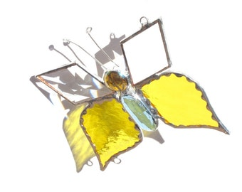 Stained Glass Sun Catcher Butterfly Yellow Handmade OOAK