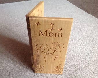 Greetings Card with Design and Text- Wooden