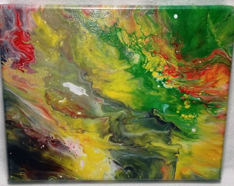 Space Nebula #1 - 8 x 10 Abstract Acrylic Wet Pour Painting