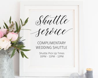 Printable. Shuttle service sign, wedding shuttle, party shuttle service, wedding shuttle sign, shuttle pick up time, party shuttle, 00L1
