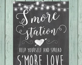 S'more Love S'more Bar - Chalkboard Sign ** DIY Printing - Digital File *****INSTANT DOWNLOAD****