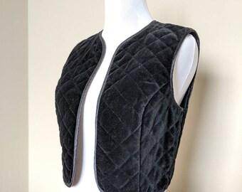Lucie Linden 1970's Velvety Black Vest/Size 36/ Made in West Germany/Polyester/Cropped/Vintage Vest