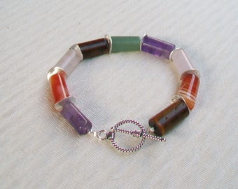 Bracelet natural stone and silver tubes