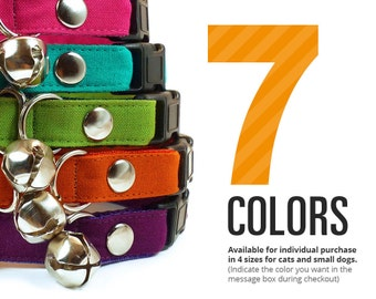 Color Collection // Bold Colors - Cat Collar Breakaway or Non Breakaway - PICK ONE (Red / Blue / Pink / Teal / Green / Orange / Purple)