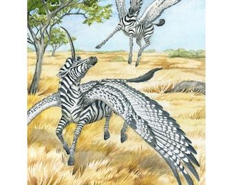 ORIGINAL Painting - Learning to Land - Fantasy Pegasus Unicorn Watercolor Art - Flying Zebra