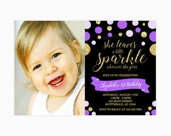 Purple and Gold Sparkle Birthday Party Invitation, She Leaves a Little Sparkle Wherever She Goes, Polka Dots, Photo, Printable or Printed