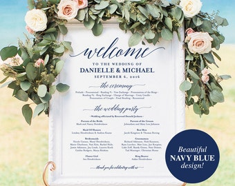 Wedding program Sign, Welcome Wedding Sign, Program Sign, Navy Wedding Sign, Wedding Poster, Template, PDF Instant Download #BPB320_60